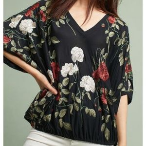NWT Anthropologie Allora Embroidered Top